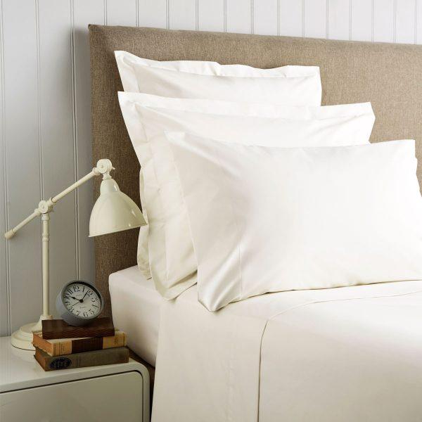 King Size Pillowcases (pair) 400 TC Cotton Sateen Ivory