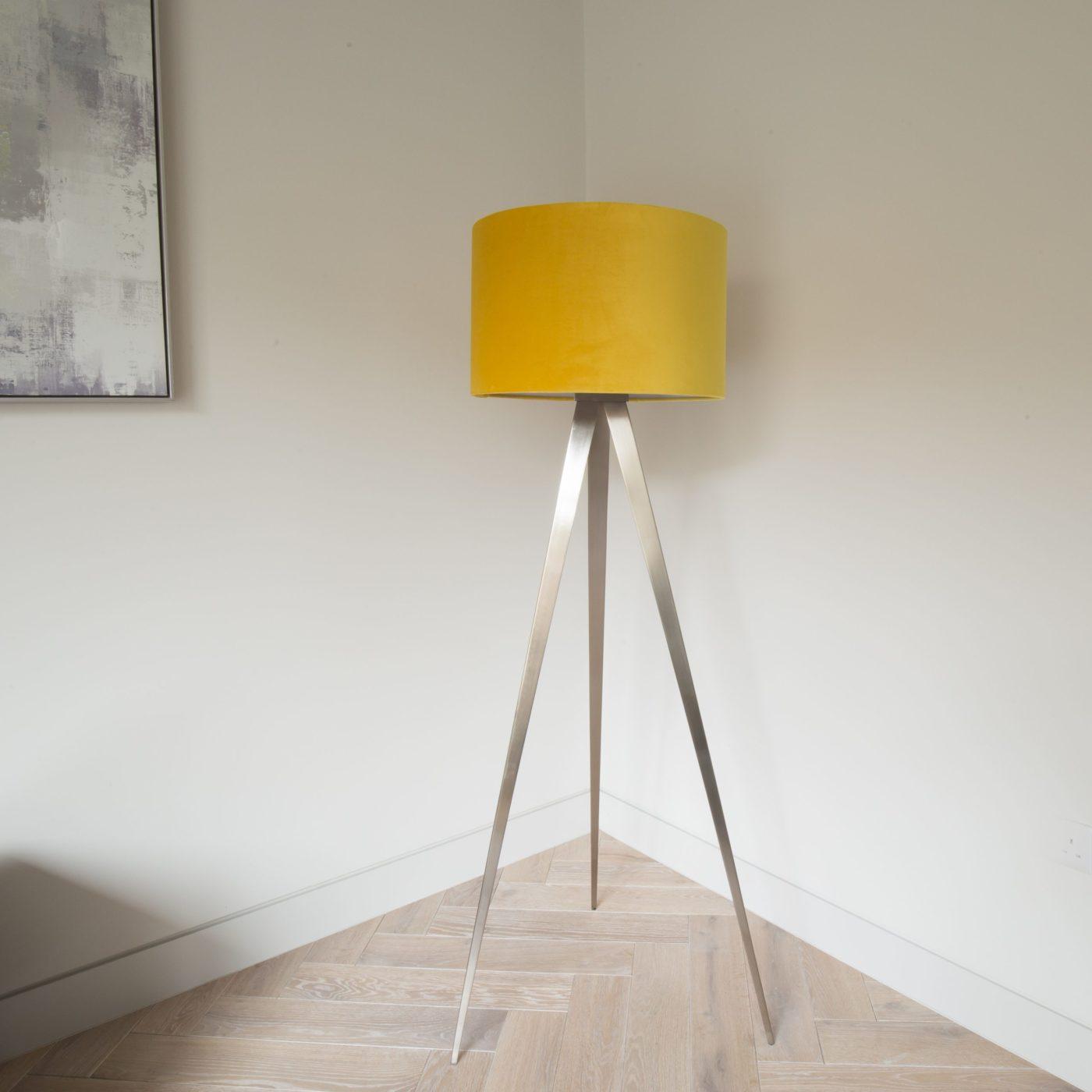 Mustard Tripod Floor Lamp with Brushed Steel Legs