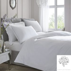 Plain Dye 100% Cotton Duvet Set – White with Silver Contrast Piping