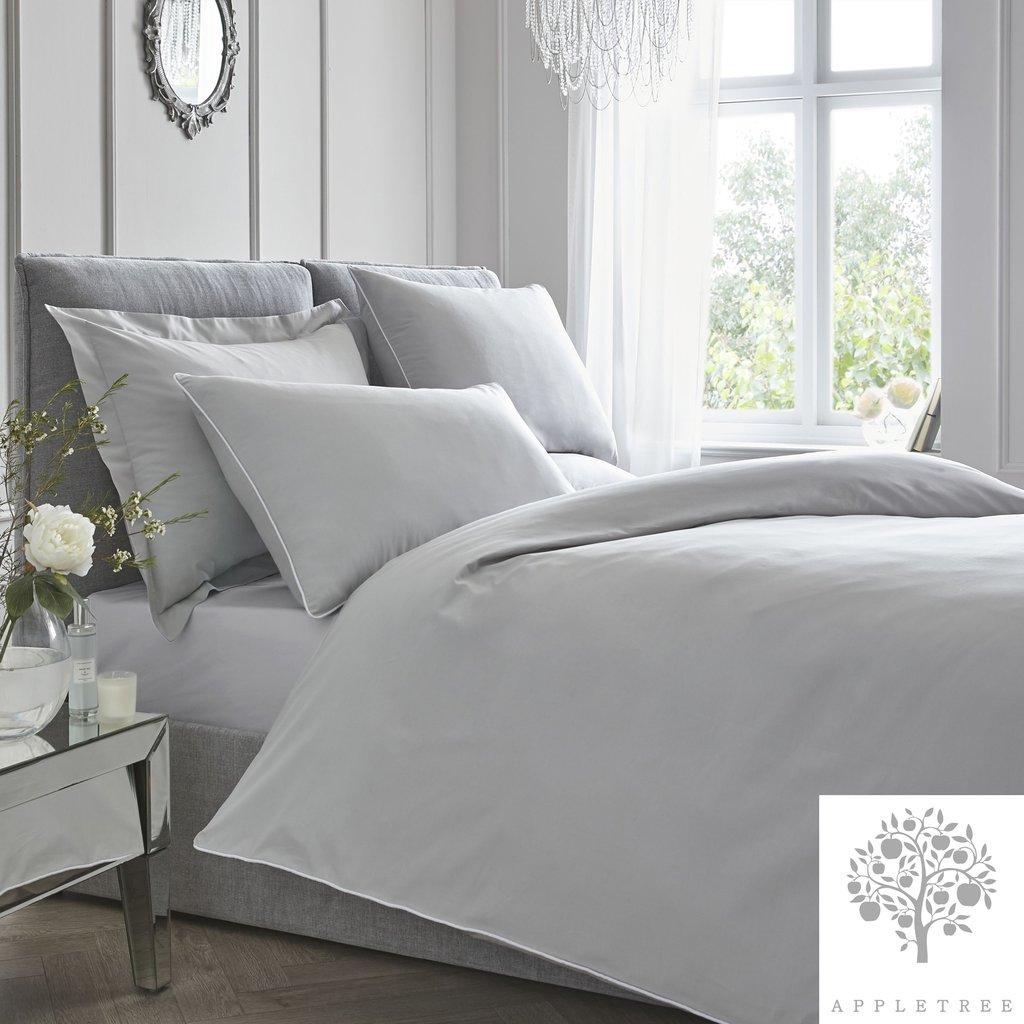 Plain Dye 100% Cotton Duvet Set - Slate with White Contrast Piping