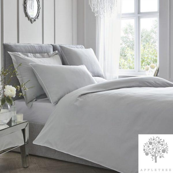 Plain Dye 100% Cotton Duvet Set – Silver with White Contrast Piping