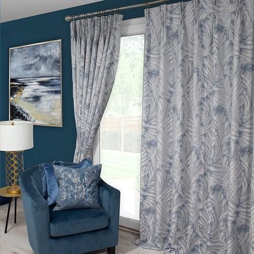 Zahara Blue Pinch Pleat Curtains