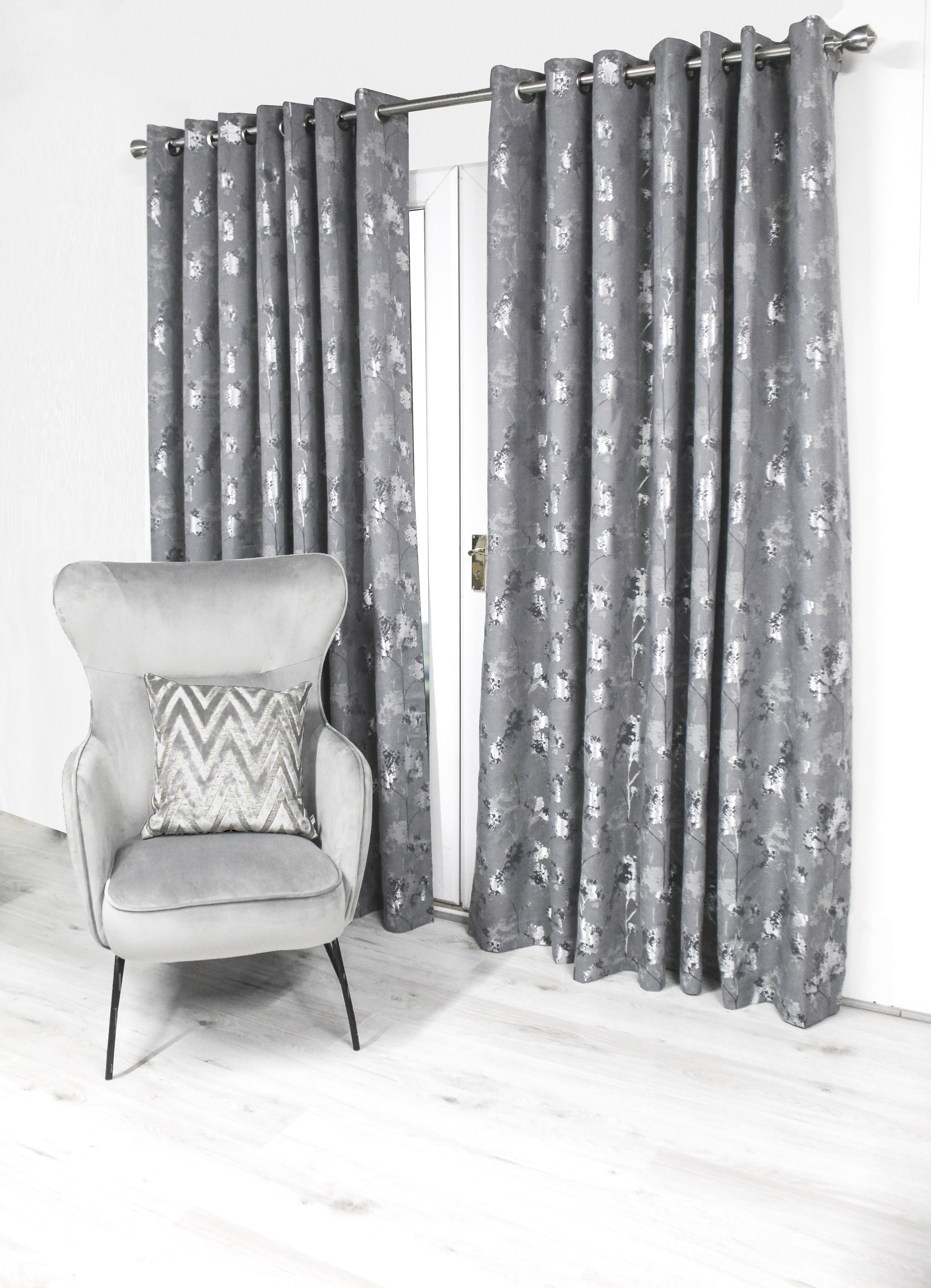 Watercolour Trees Charcoal Eyelet Curtains