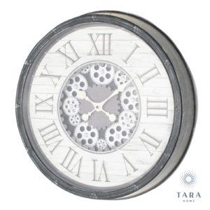 Gears Antique Grey Clock