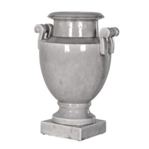 Grey Ceramic Urn with Handles