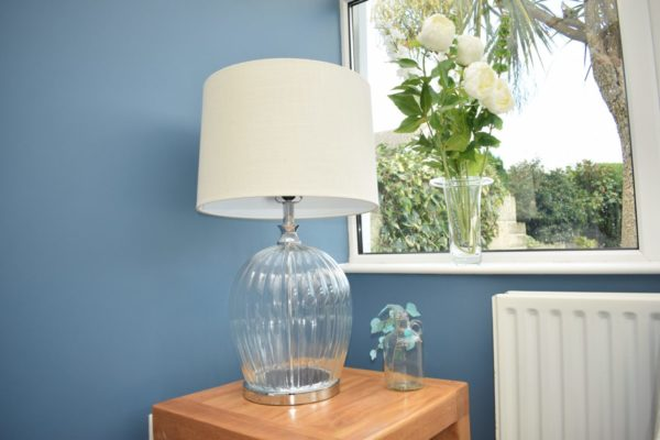Glass Lamp with oatmeal linen shade