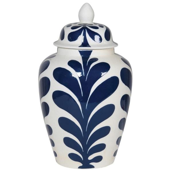 Large Leaf Design Lidded Jar