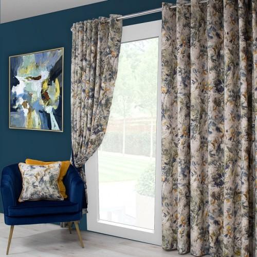 Seren Blue Ochre Curtains