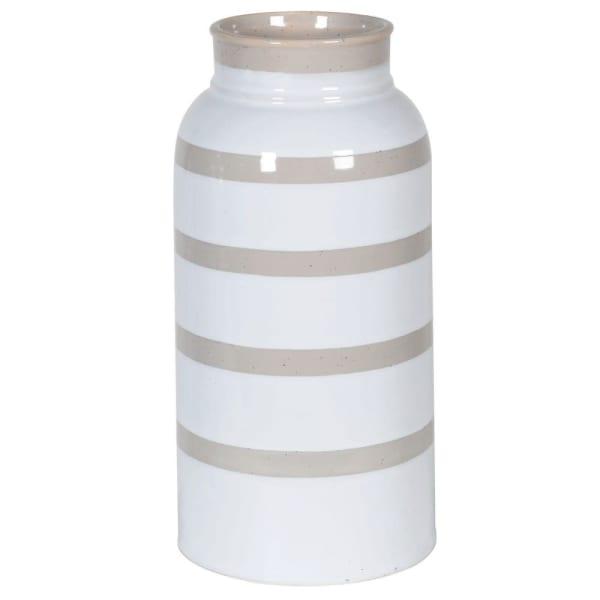 Block White Stripe Ceramic Vase