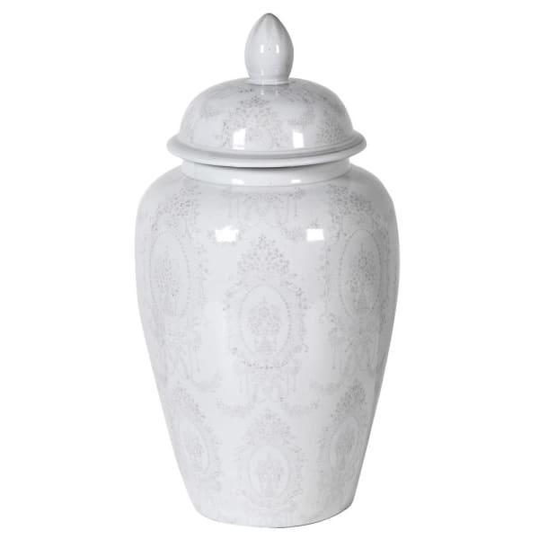 Large Grey & White Lidded Jar