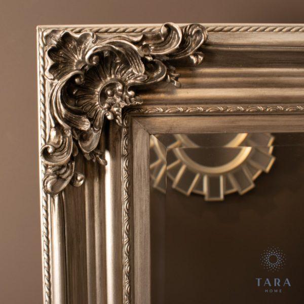Wide Cheval Mirror Silver