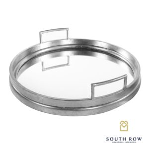 Amelia Silver Mirrored Tray Round