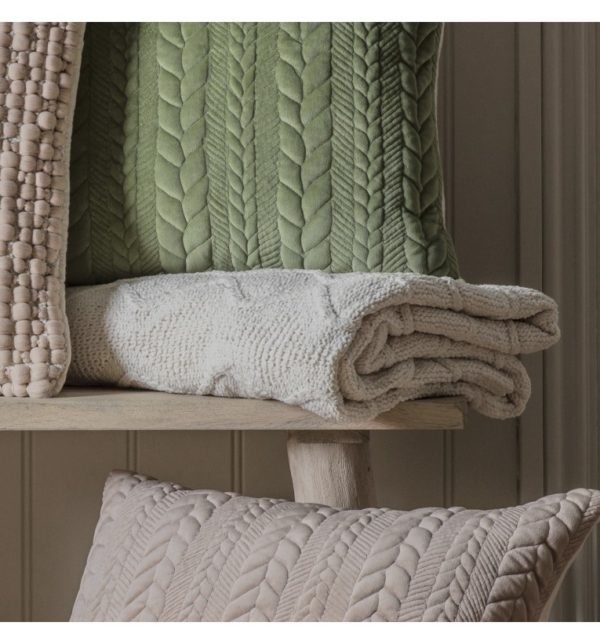Chenille Knit Cable Throw Cream