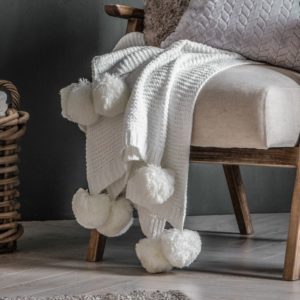 Knitted Pom Pom Throw Cream