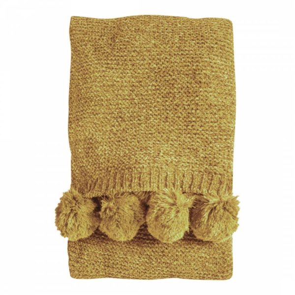 Knitted Pom Pom Throw Ochre